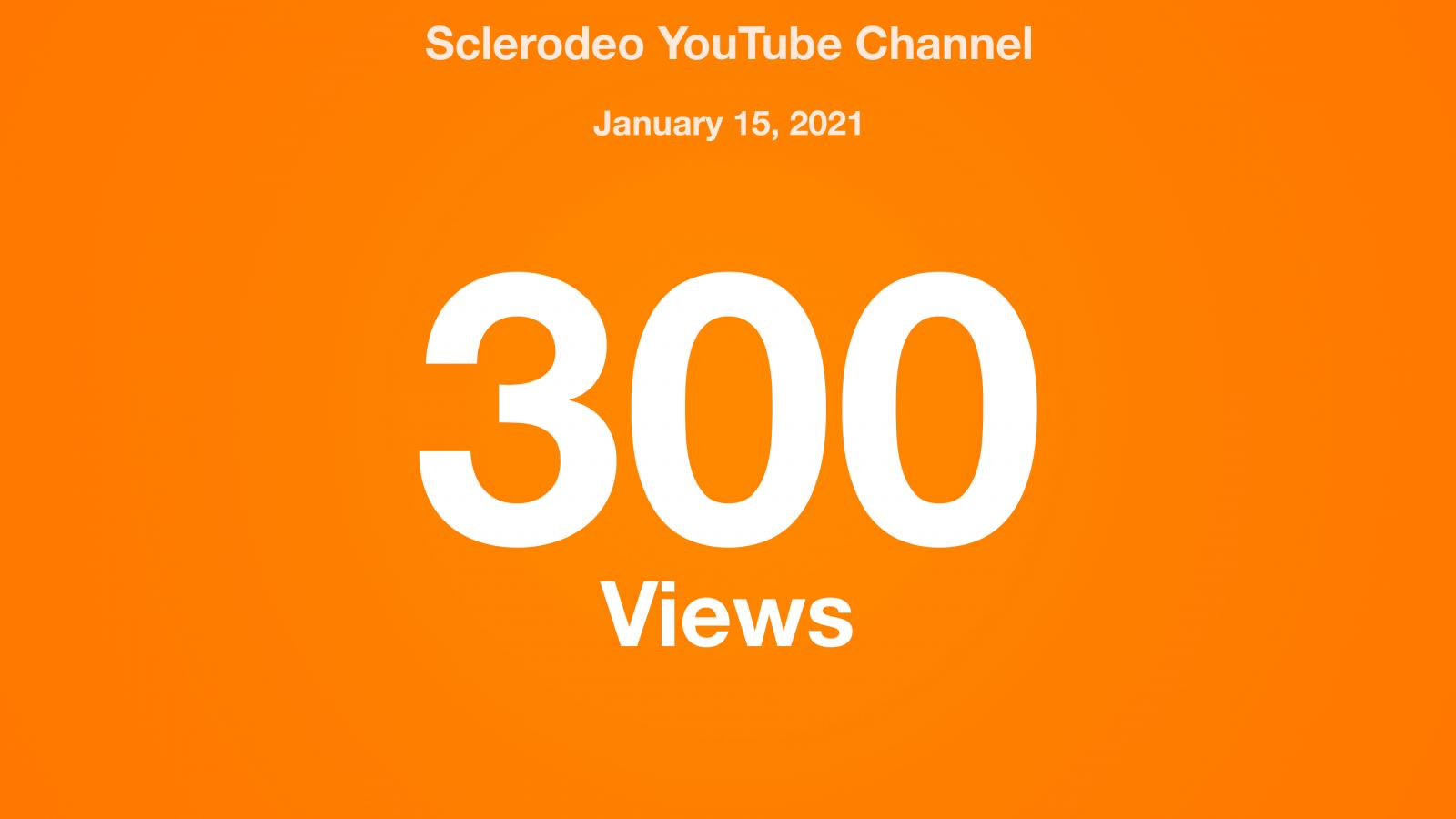 Sclerodeo YouTube Channel, January 15, 2021, 300 Views