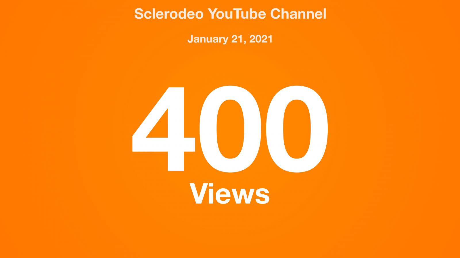 Sclerodeo YouTube Channel, January 21, 2021, 400 Views
