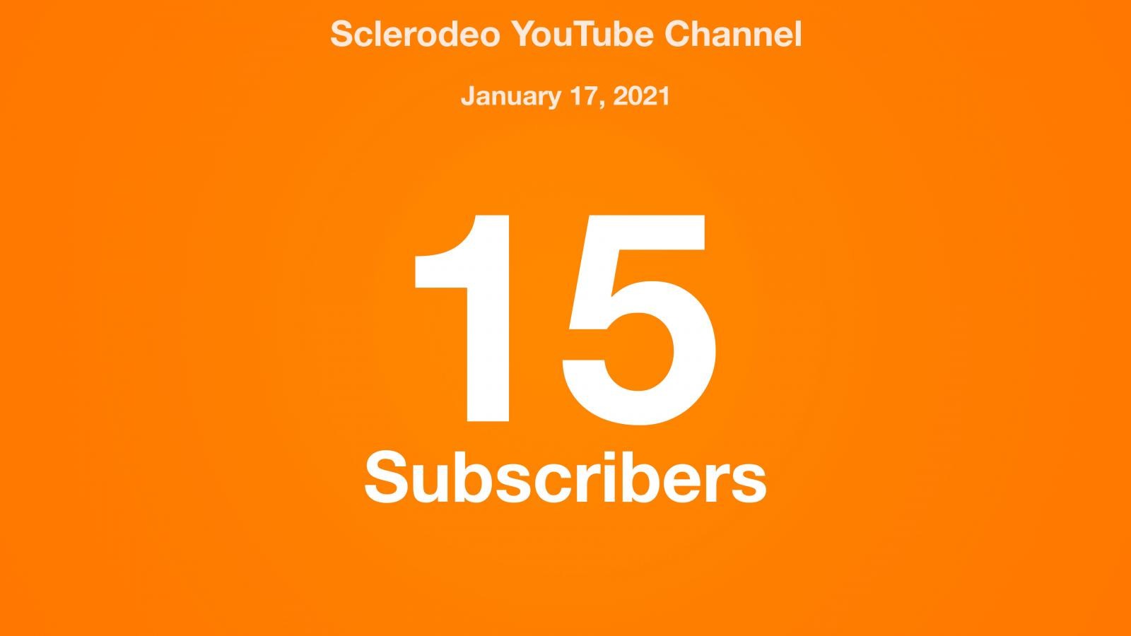 Sclerodeo YouTube Channel, January 17, 2021, 15 Subscribers