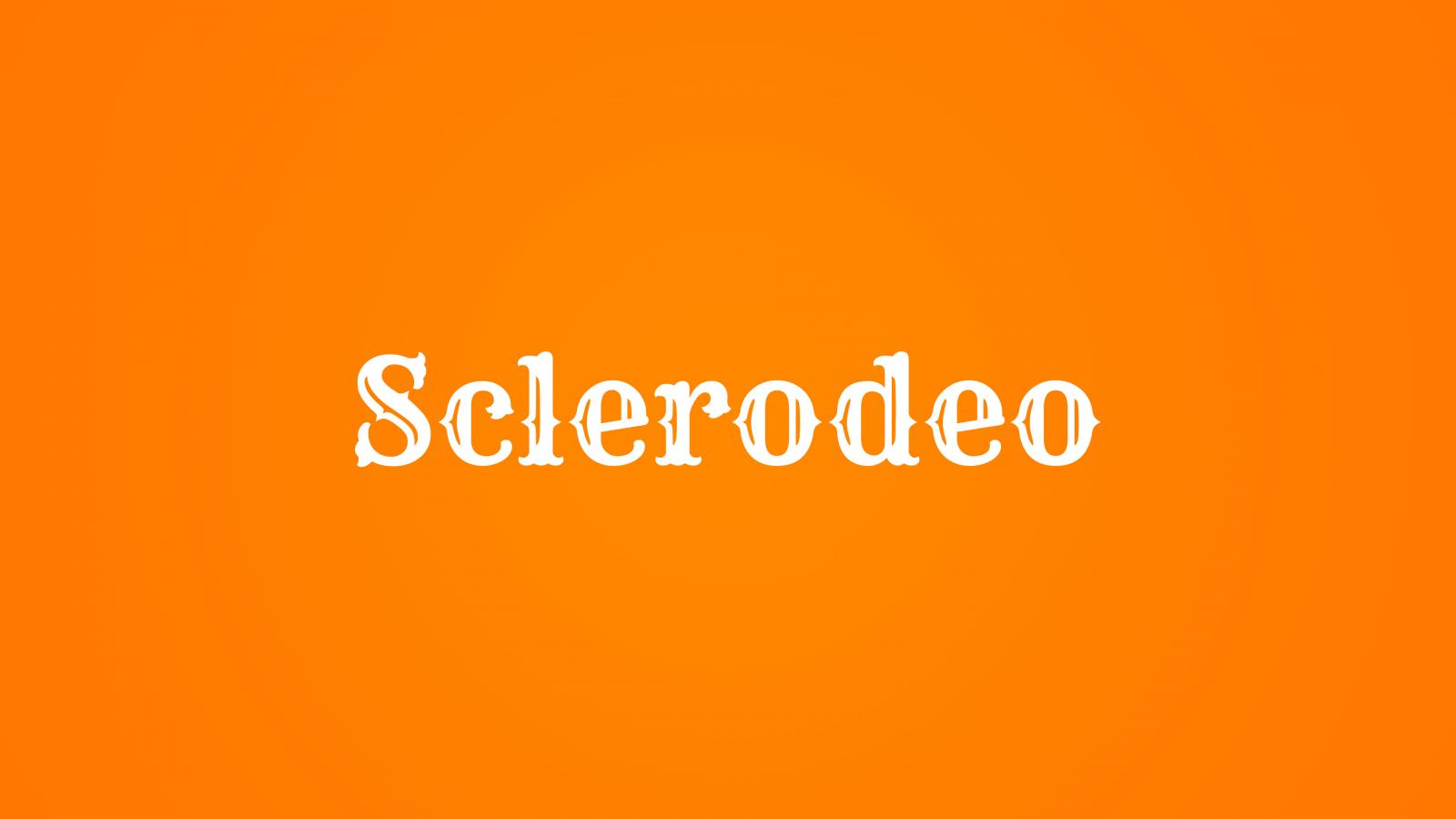 "An orange background with the word ""Sclerodeo"" in a western font."