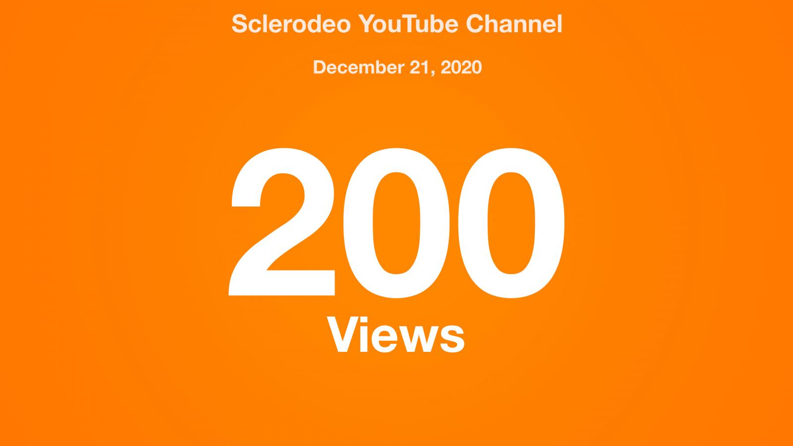Sclerodeo YouTube Channel, December 21, 2020, 200 Views