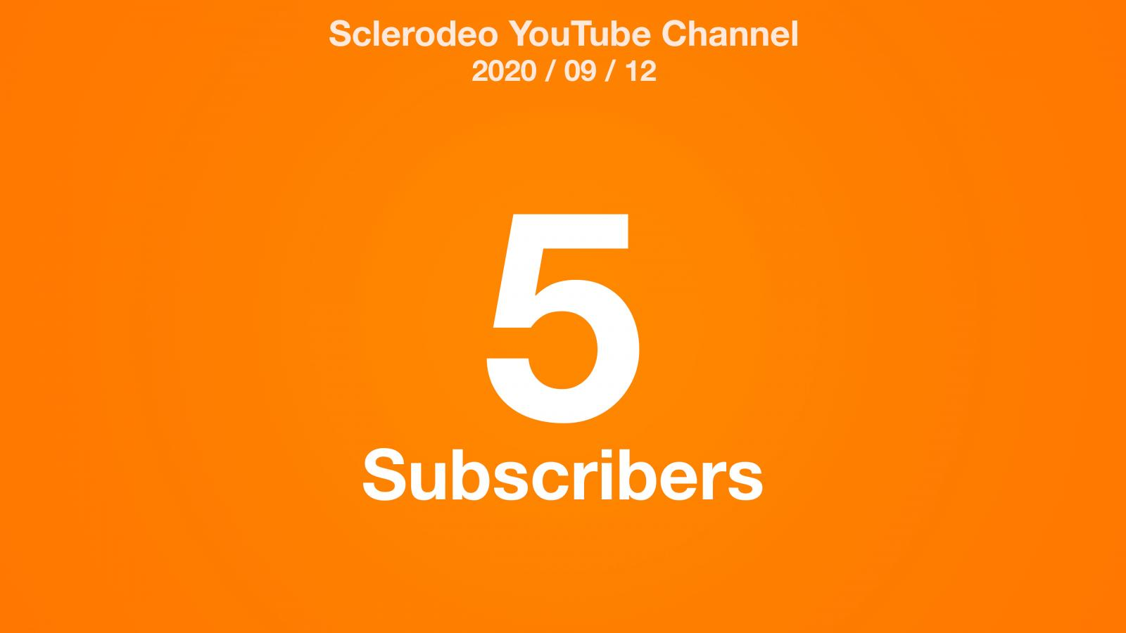 An orange radial gradient with the text: Sclerodeo YouTube Channel 2020/09/12 5 Subscribers