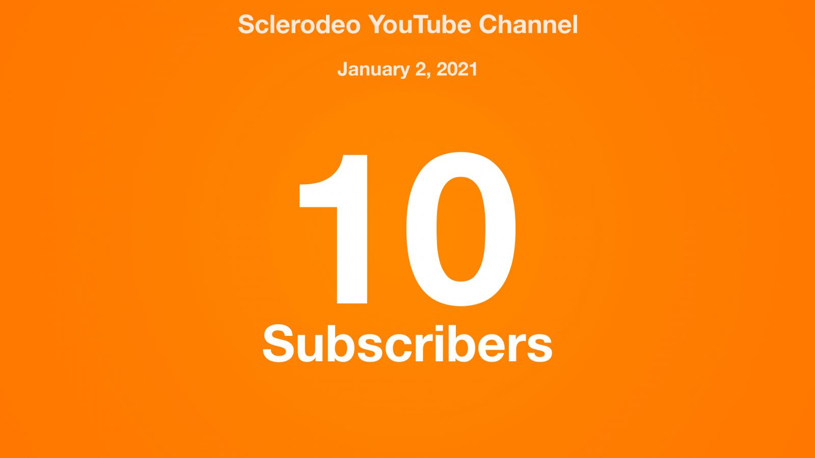 Sclerodeo YouTube Channel, January 2, 2021, 10 Subscribers